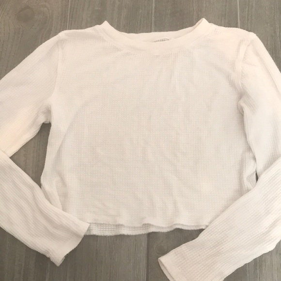 201791851b0be8 Pacsun White Long-sleeve Waffle Knit crop top. M_5a8b09d585e6057fcbc9137d